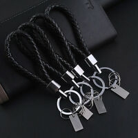 Trendy Women Men Black Leather Key Chain Ring Keyfob Car Keyring Keychain Gift