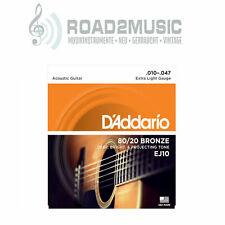 1 Satz Daddario EJ-10 Extra Light 10-47 Bronze Akustik Gitarre Saiten