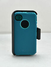 OtterBox Defender iPhone 4 4S Hard Rugged Case Holster Belt Clip Teal Blue USED