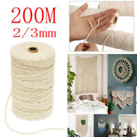 Natural Cotton Cord 2/3mm 200M Twine Braided Rope Cord Sash String Craft Macrame