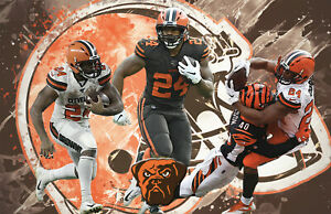 Cleveland Browns Lithograph print of Nick Chubb 2020  17 x 11