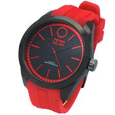Mens Red Band  Gun Metal Black Face  FB Fashion  Silicone Quartz Wrist Watches