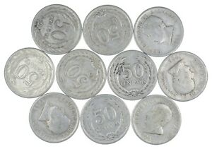Lot of 10 El Salvador 1953 50 Centavos Silver Coin Lot Rare one Year Issue *425