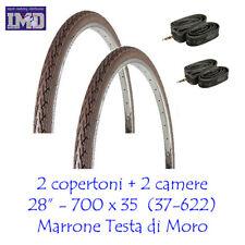 2 COPERTONI + CAMERE D'ARIA da 28 1 5/8 3/8 COLORE MARRONE VINTAGE PER BICI