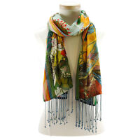 Mary Frances Vintage Balloon Printed Scarf Multi Color Embellished NEW