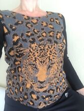 Sandro Black Tiger Head Print Knit Long Sleeve Top Size 1 S