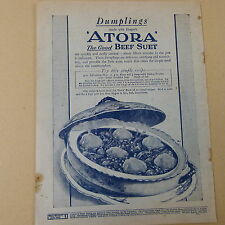 "vintage advertise DUMPLINGS made with Hugo's ""ATORA"" the good Beef Suet, 1930s"