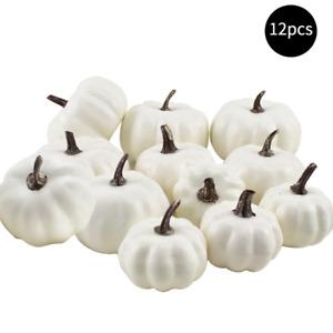 12pcs Halloween Harvest White Artificial Pumpkins Fall Thanksgiving Decorative