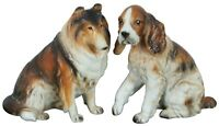 2 Napcoware Rough Collie Cocker Spaniel Dog Figurine Statues 5""