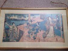 Antique Japanese Kunisada Utagawa, Toyokuni Iii 1786-1865, Woodblock Triptych