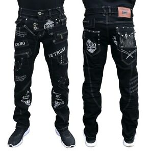 Mens New 100% Authentic Kosmo Lupo Black Jeans Pants Sizes 30 to 38 KM051-1