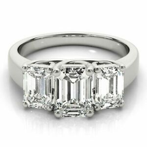 1.10 Ct Emerald Cut Diamond Engagement Ring Solid Platinum Rings Size L