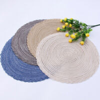 "Set of 6 Braided Border Round Table Cotton Placemats 15"" Wedding Holiday Party"