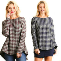 UMGEE Womens Chic Houndstooth Stretch Knit Long Sleeve Peplum Top Blouse S M L