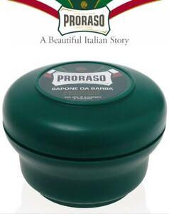 PRORASO Green Shaving Soap In A Bowl Made in Italy - Eucalyptus, Natural Cream