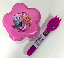 NEW Zak! PAW PATROL 2Pc Lunch Set Snack Container Utensil Fork Spoon PINK PURPLE