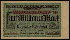 Geldschein Banknote Notgeld Bayern 13 b 5 Mio Mark Länderbanknote 20.8.1923 - I.