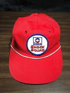 VTG GM 1970's Delco Shock Squad Strapback Hat Patch Trucker Cap Union Tag USA