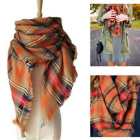 Women Oversized Blanket Tartan Scarf Long Wrap Shawl Plaid Cozy Pashmina Fashion