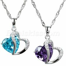 """Silver Tone Accent Love Heart Shape Pendant Necklace w 18"""" Chain Ladies Gifts"""