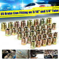 35Pcs Brake Line Tube Fitting Kit Nuts For Inverted Flares 3/16'' and 1/4'' Zinc