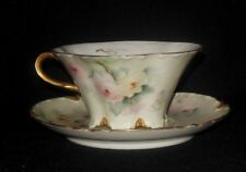 HAVILAND LIMOGES HAND PAINTED CUP AND SAUCER SET PINK YELLOW ROSES GOLD RIM1893