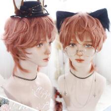 Orange Gradient Harajuku Kawaii Daily Lolita Sweet Men Boy Short BL Hair Wig #U3