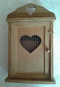 Vintage Wooden Key Organizer Cabinet Holder Safe  Wall Mount Country Kitchen