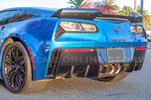 HYDRO-DIPPED CARBON FIBER Rear Bumper Diffuser Fin Pair For 14-19 Corvette C7