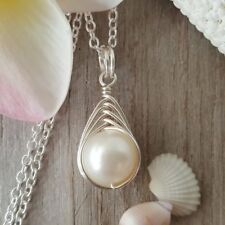 "Handmade in Hawaii, Wire Braided Sized Round Natural Pearl necklace, ""June Birth"