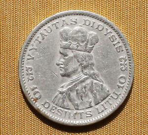 Lithuania 10 litu litas 1936 silver crown Vytautas