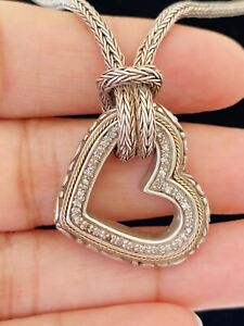 Samuel Benham Sterling Silver & 18k Yellow Gold Necklace Heart Pendant Diamond