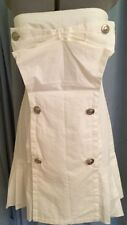 NWT Size L Anthropology RYU DRESS Solid Ivory Strapless Dressy Pleats Cotton