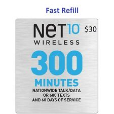 Net10 $30 Refill -- 300 Minutes for 60 Days. Fast & Right