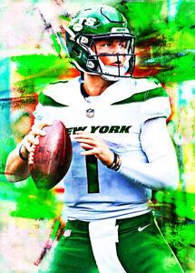 2021 Zach Wilson New York Jets Draft RC Football 1/25 Art ACEO Print Card By:Q