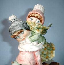 Giuseppe Armani Winter Fun Boy & Girl on Sled Sculpture Figurine