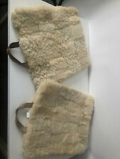Pair Vintage Woolrich 100% Sheepskin Pad/Cushion w/ Leather Handle
