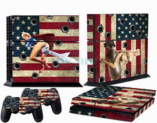 US Gun Battle Skin Sticker for Playstation 4 console PS4 2 free Controller Cover