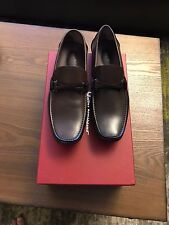 New Salvatore Ferragamo Granprix Brown Leather Men Drivers Loafers Shoes 8 $620