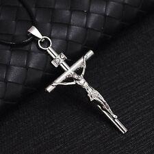 3D Titanium Steel Christian Jesus Cross Catholic Crucifix Leather Cord Necklace