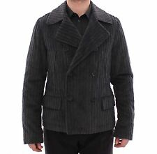 NWT $1300 DOLCE & GABBANA Black Double Breasted Peacoat Jacket IT48 / US38 / M
