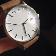 *Authentic MVMT Watches WHITE TAN Leather Men's Luxury Watch New In Box
