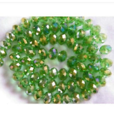 2018 Hot Faceted Rondelle Jewelry Bicone Crafts Glass Crystal Beads AB Green 4MM