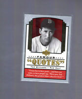 TED WILLIAMS ~ 2004 Upper Deck Baseball Famous Quotes Insert Card Boston Red Sox