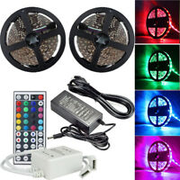 5M 10M RGB 5050 Flexible LED Strip light SMD 44 Key Remote 12V US Power Adapter