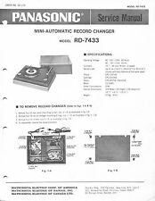 Vintage Panasonic SERVICE MANUAL-RD-7433 Mini-Automatic Record Changer-Original