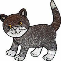 Embroidered Cat Iron On Badge Sew On Patch T Shirt Jacket Jeans Bag Hat Applique