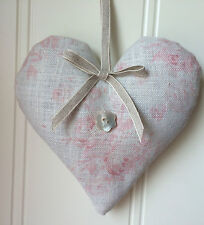 Peony and Sage Organic Lavender Heart MILLIE Pink Linen fabric Ribbon  Gift