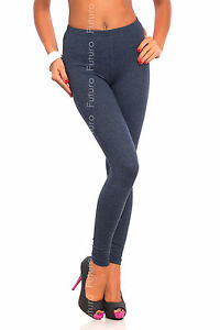 Full Length Denim Premium Cotton Leggings Comfortable Stretchy Pants Sizes 8-22