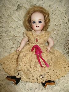 """Vtg 2 ps gold embroidery cotton French lace dress  for mignonette doll 7.5"""" & 8"""""""